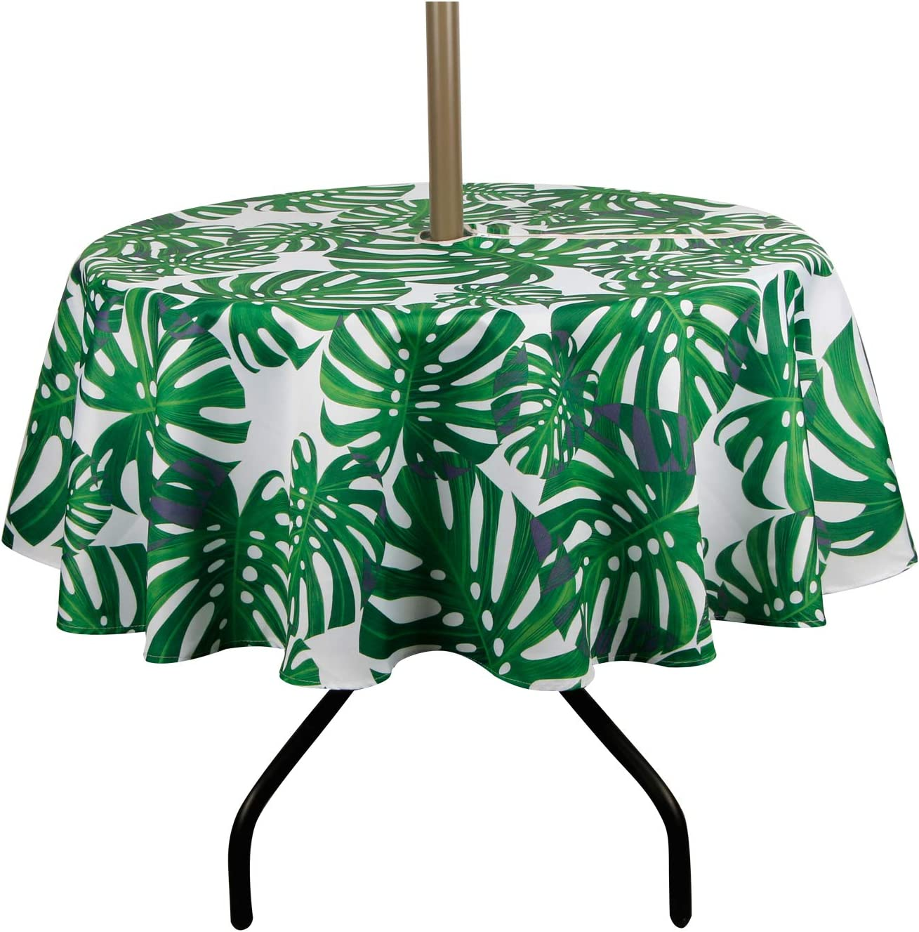 ColorBird Spring Summer Palm Leaf Outdoor Tablecloth Waterproof Spillproof Polyester Table Cover with Zipper Umbrella Hole for Patio Garden Tabletop Decor, 60 Round, Zippered