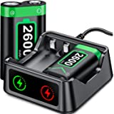 Charger with Xbox One/Series X|S Controller Battery Pack, 2x2600 mAh Rechargeable Battery Pack for Xbox Series X|S/Xbox One/X