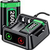 ESYWEN Charger with Xbox One/Series X|S Controller Battery Pack, 2x2600 mAh Rechargeable Battery Pack for Xbox Series X…