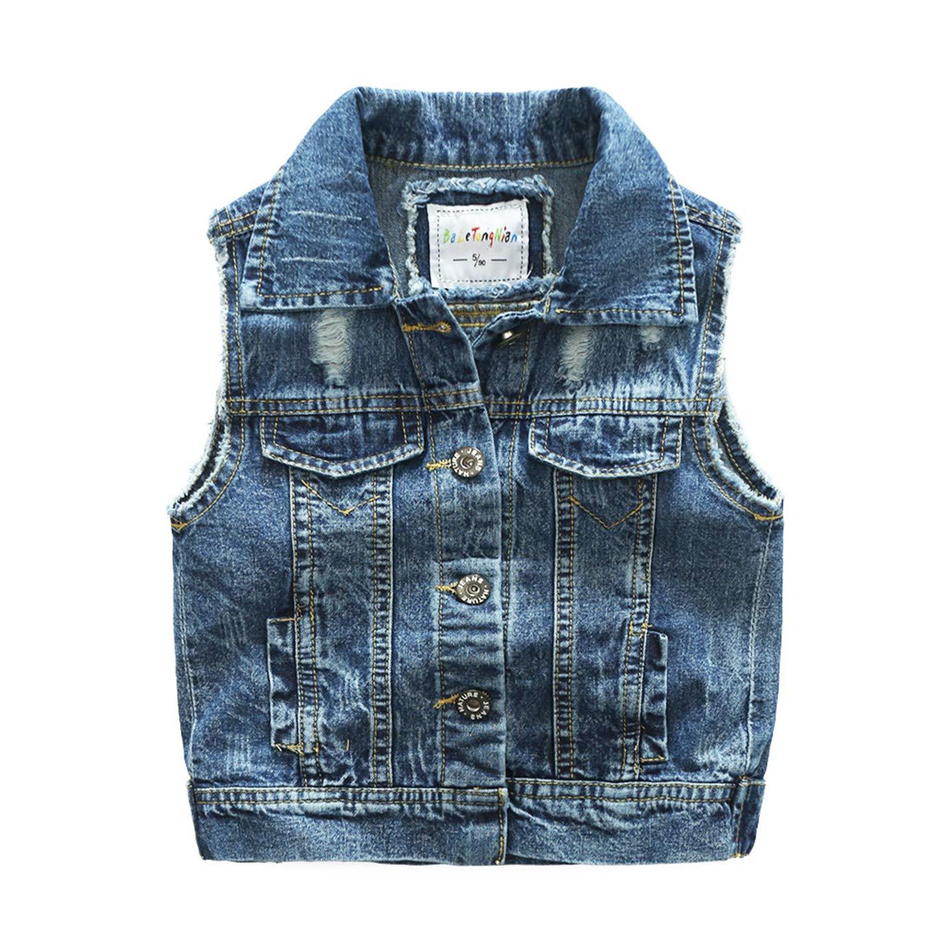 Baletongnian Denim Vest Kids Cotton Fall Sleeveless Denim Jacket Outwear 2-6 Years