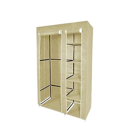 Lyndan - Jeita Beige ligero doble 2 puerta armario en tejido gamuza armario lienzo Rail ropa