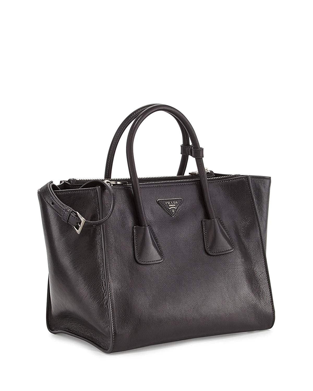aaf598dc8434 Amazon.com: Prada Women's Glace Calf Shopping Handbag 1bg625 Black Leather  Tote: Shoes