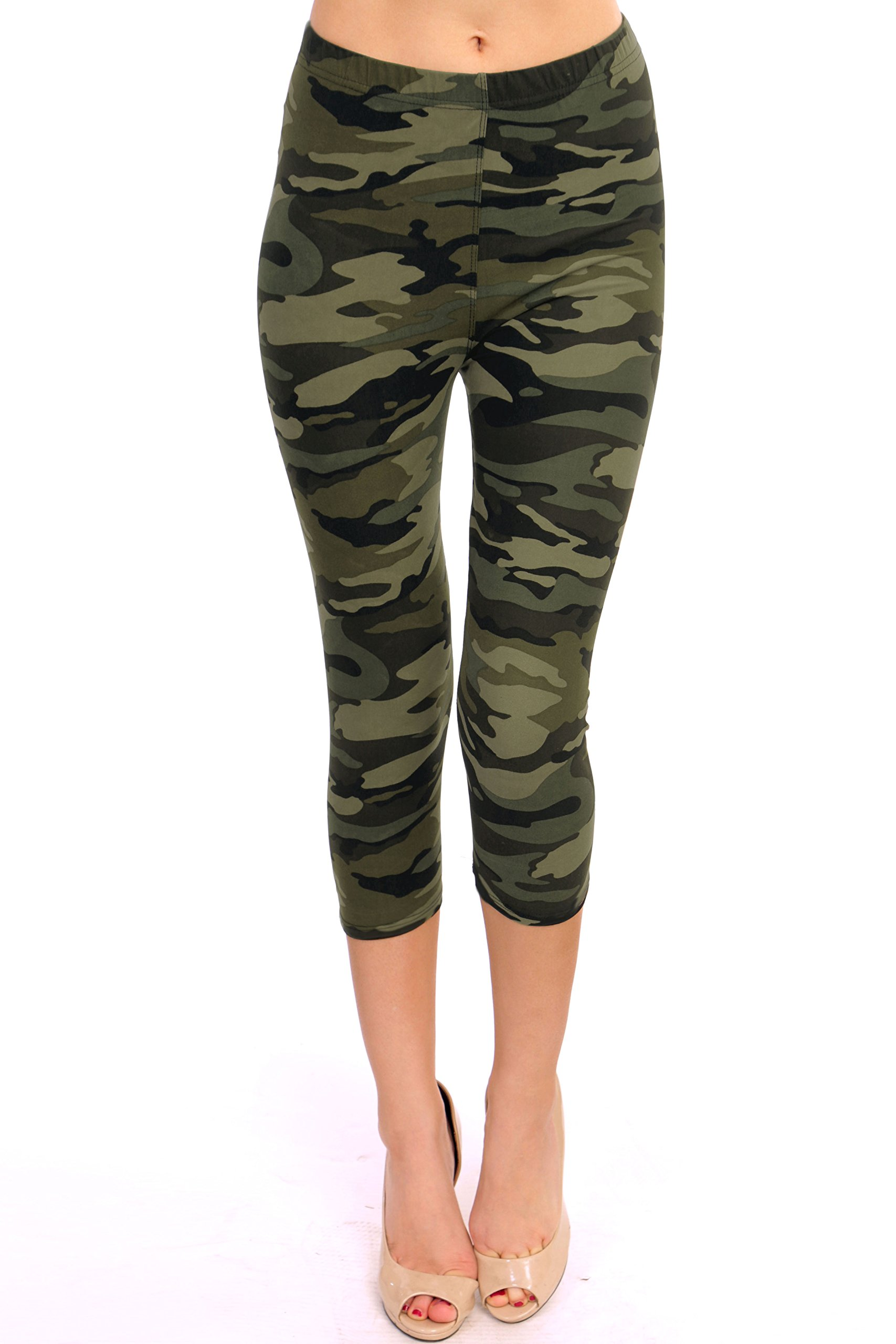 VIV Collection Regular Size Printed Brushed Capris (Green Army Camouflage)