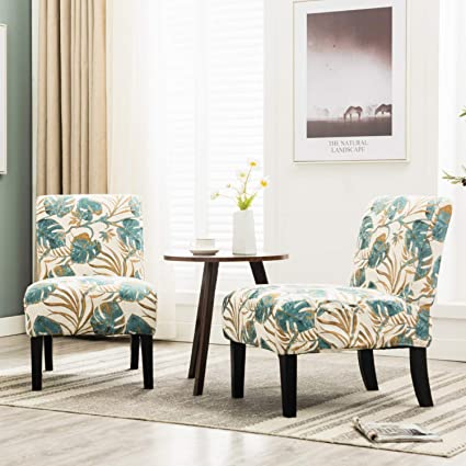 Set Of 2 Living Room Accent Chairs.Altrobene Armless Jacquard Fabric Accent Chairs Set Of 2 Living Room Office Reception Side Chairs With 4pcs Removable Washable Slipcovers