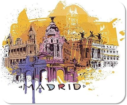 Mousepad Bloc de Notas Oficina Azul España Madrid Bosquejo Amarillo Pintura Arquitectura turística Pop Inicio Escuela Juego Jugador: Amazon.es: Electrónica