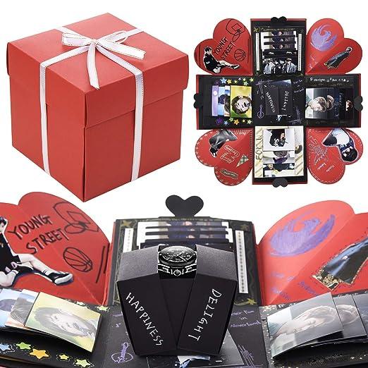 VEESUN Caja de Regalo Creative Explosion Box, DIY Álbum de Fotos Amor Memory Album Caja Fotos Regalos Originals para Aniversario de Boda Cumpleaños ...