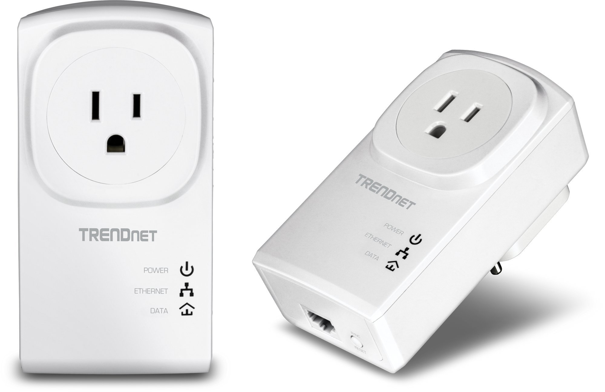 TRENDnet Powerline 500 AV Nano Adapter Kit With Built-In Outlet, Power Outlet Pass-Through, Includes 2 x TPL-407E Adapters, Plug & Play, Ideal For Smart TVs, Gaming, White, TPL-407E2K