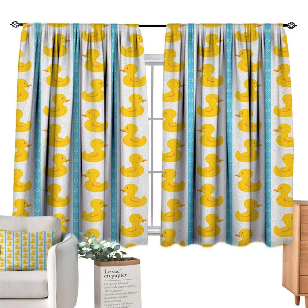 familytaste Rubber Duck,Modern Kids Curtain Yellow Duckies with Blue Stripes and Small Circles Baby Nursery Play Toys Pattern Blackout Drapes for Baby Bedroom W55 x L72