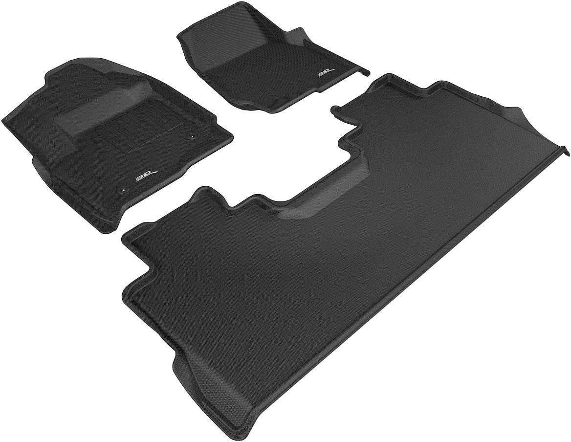 3D MAXpider Second Row Custom Fit All-Weather Floor Mat for Ford F-250//350//450 Crew Cab Models Kagu Rubber Black