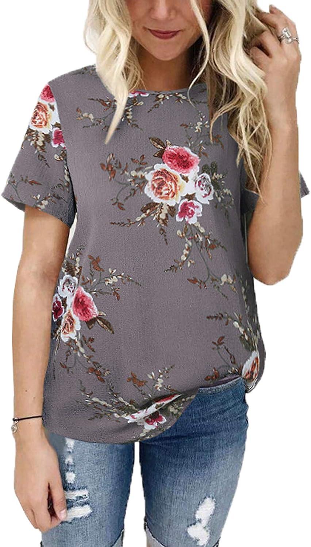 WOZNLOYE Donna Stampa Fiore Camicie Manica Corta Girocollo Maglietta Casual Bluse Moda T-Shirt Top
