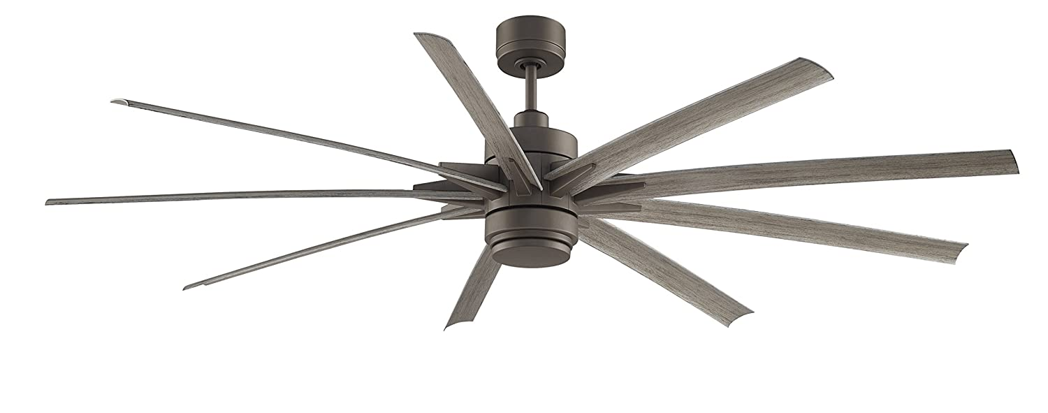 Emerson aira eco 72 inch oil rubbed bronze modern ceiling fan free - Fanimation Odyn 84 Inch Matte Greige With Weathered Wood Blades With Led Light Kit And Remote Wet Rated Fpd8149grw Amazon Com