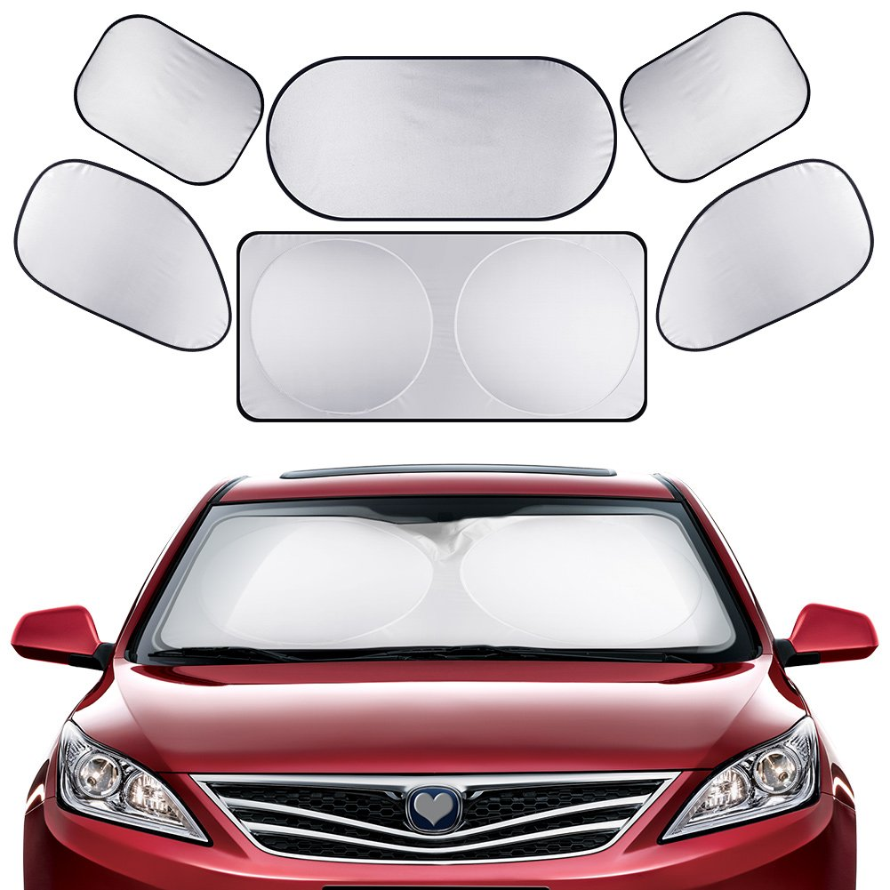 GHB Full Car Sun Shade Folding Silvering Reflective Car Window Sun Shade Visor Shield Cover