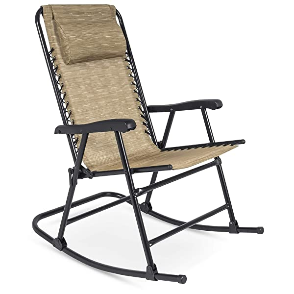 Best Choice Products Foldable Zero Gravity Rocking Patio Recliner Lounge Chair w/Headrest Pillow - Beige