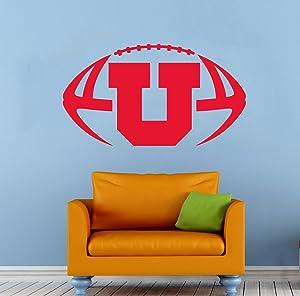 "NCAA Football Vinyl Decal Sticker Utah Utes College Sport Home Interior Removable Decor (22""high X 40""Wide)"