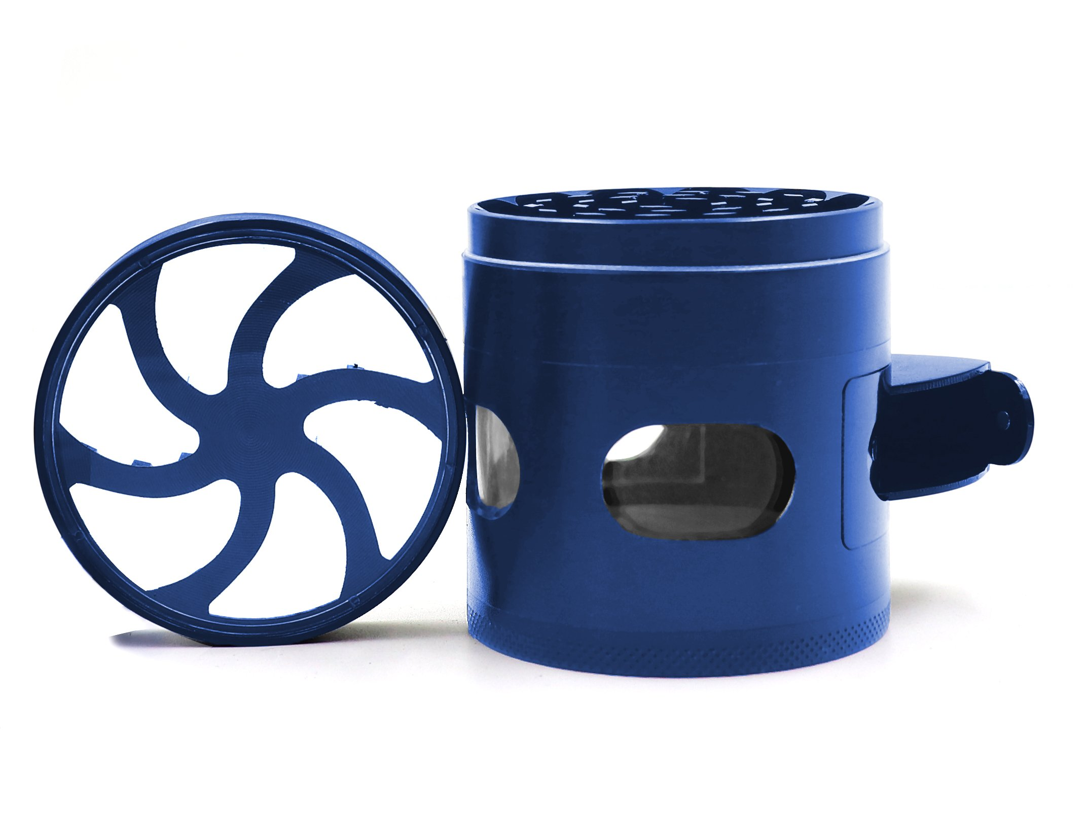 AIMAKE New Design Herb Weed& Spice 4 Piece Large 2.5 Inches Flash Windows Mills Grinder with Pollen Catcher(Blue) by aiMaKE (Image #1)