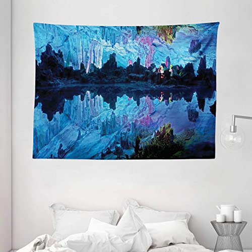 Ambesonne Natural Cave Tapestry, Pattern of Reed Flute Cistern with Artifical Crystal Palace Myst Cave Image Print, Wide Wall Hanging for Bedroom Living Room Dorm, 80 X 60 , Blue Indigo