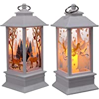 TOYANDONA Vintage Decorative Lanterns Led Indoor Outdoor Christmas Hanging Wind Lanterns Ornament Xmas Night Light Lamps…