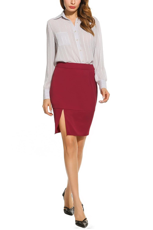 Zeagoo Women's Classic Basic Side Slit Slim Fit Office Pencil Skirt(Wine Red, Black) ETH007525