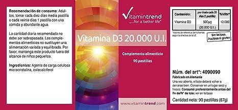 Vitamina D3 20.000 IE - 90 tabletas con alta dosificación de vitamina D3 - fabricado en Alemania - importante para mantener una salud y bienestar adecuados: ...