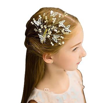 04fca3ef12c Amazon.com   70ILY Flower Girls Hair Comb Clips Handmade Crystal Headdress  Party Wedding Pink Hair Accessories GHB-08-F   Beauty