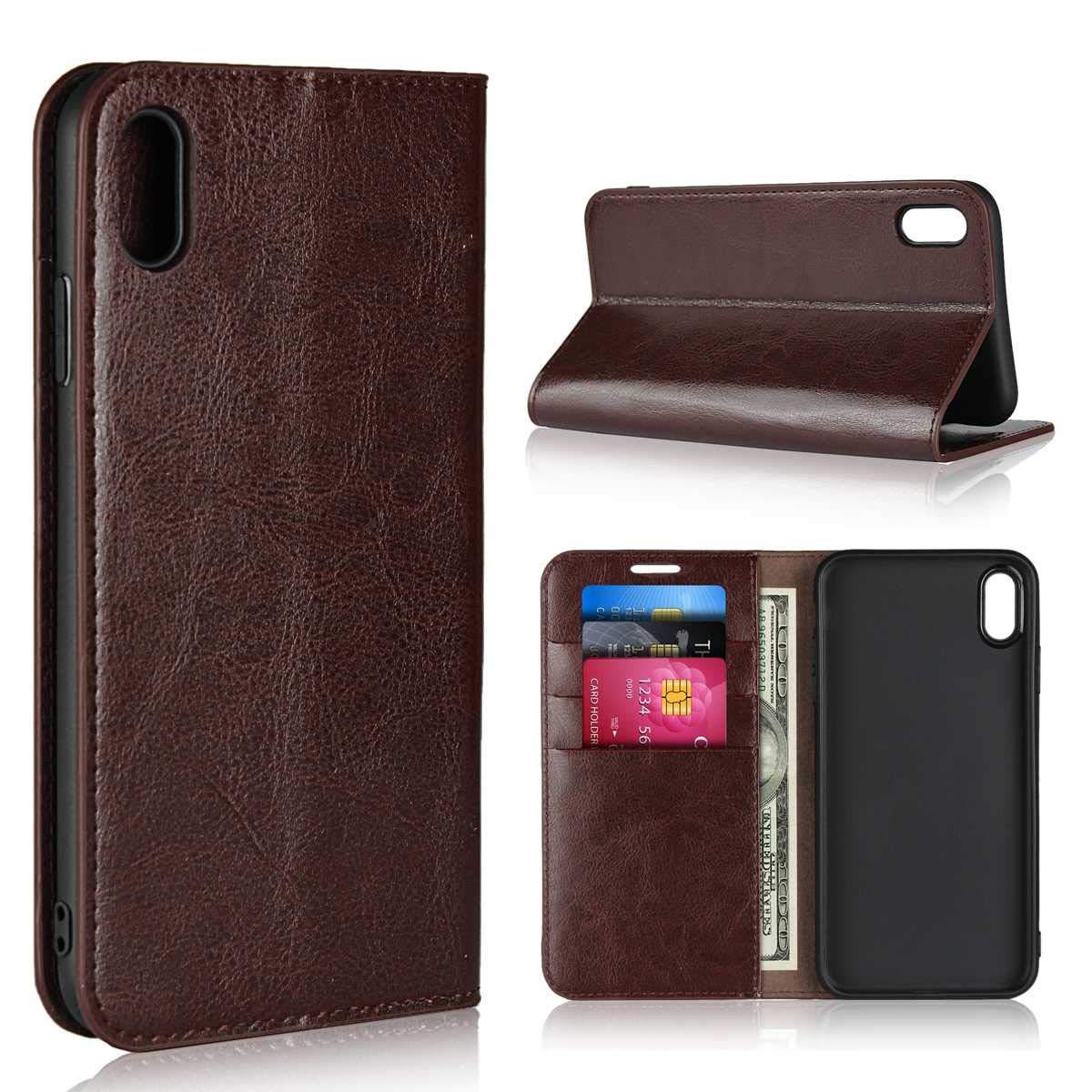 Magnetica TPU Bumper Caso per Apple iPhone 7 Plus // 8 Plus DENDICO Cover iPhone 7 Plus 8 Plus Flip Libro Portafoglio PU Custodia in Pelle Rosso