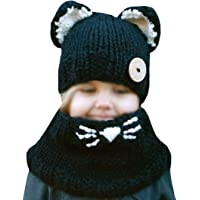 Mia Cute Animal Ear Cat Ear Hat and Scarf Set Winter Beanies Knitted Cap for Baby Toddlers Kids