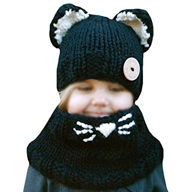 8518a14e105 Cute Baby Toddlers Kids Winter Beanies Knitted Cap Animal Ear Cat Ear Hat  and Scarf Set