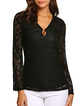 f0760700bc6 Meaneor Women's Long Bell Sleeve Floral Lace Blouse Keyhole Black Tops S