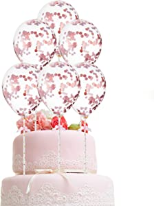10 Pieces Confetti Balloon Cake Toppers Mini Balloon Cake Cupcake Topper Balloon Birthday Dessert Topper 5 Inch Mini Latex Balloons for Cake Decoration Birthday Wedding Baby Shower, Rose Gold
