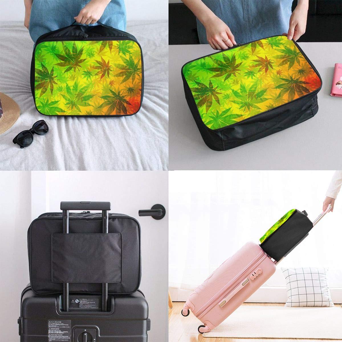 Travel Duffel Bag Waterproof Fashion Lightweight Large Capacity Portable Luggage Bag Rasta Marijuana Weed Leaves