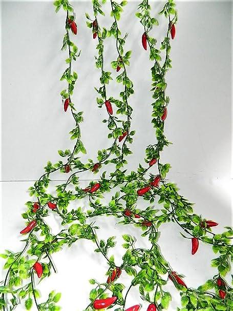 5 X guirlande Piment d Espelette Piments Artificiels longueur 180 cm piments rouges Artif-deco