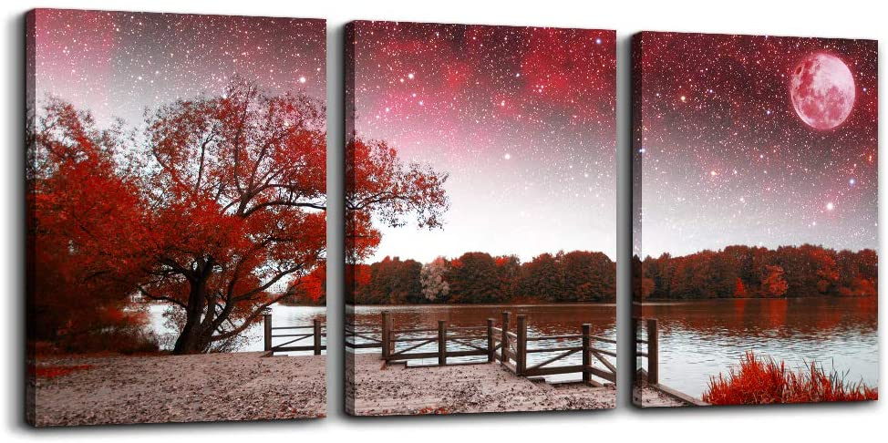 "Wall Art for living room Canvas Prints bedroom Wall Decor for bathroom artwork Abstract Painting Red tree moon landscape paintings 12"" x 16"" 3 Pieces Modern framed office Home decorations for kitchen"