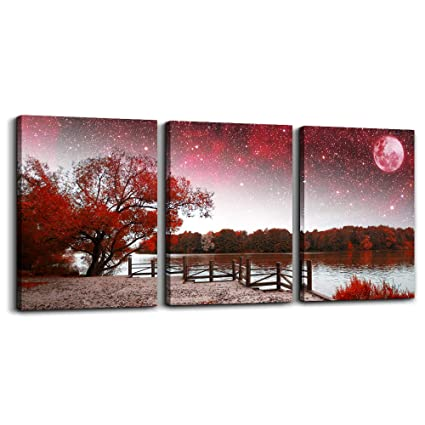 Wall Art For Living Room Canvas Prints Bedroom Wall Decor For Bathroom Artwork Abstract Painting Red Tree Moon Landscape Paintings 12 X 16 3 Pieces
