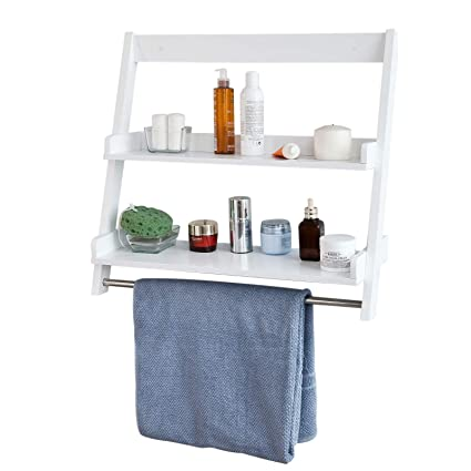Astonishing Sobuy Frg117 W White Wall Mounted Shelf Storage Display Ladder Shelf Bathroom Shelf 2 Shelves 1 Hanging Rail Download Free Architecture Designs Scobabritishbridgeorg