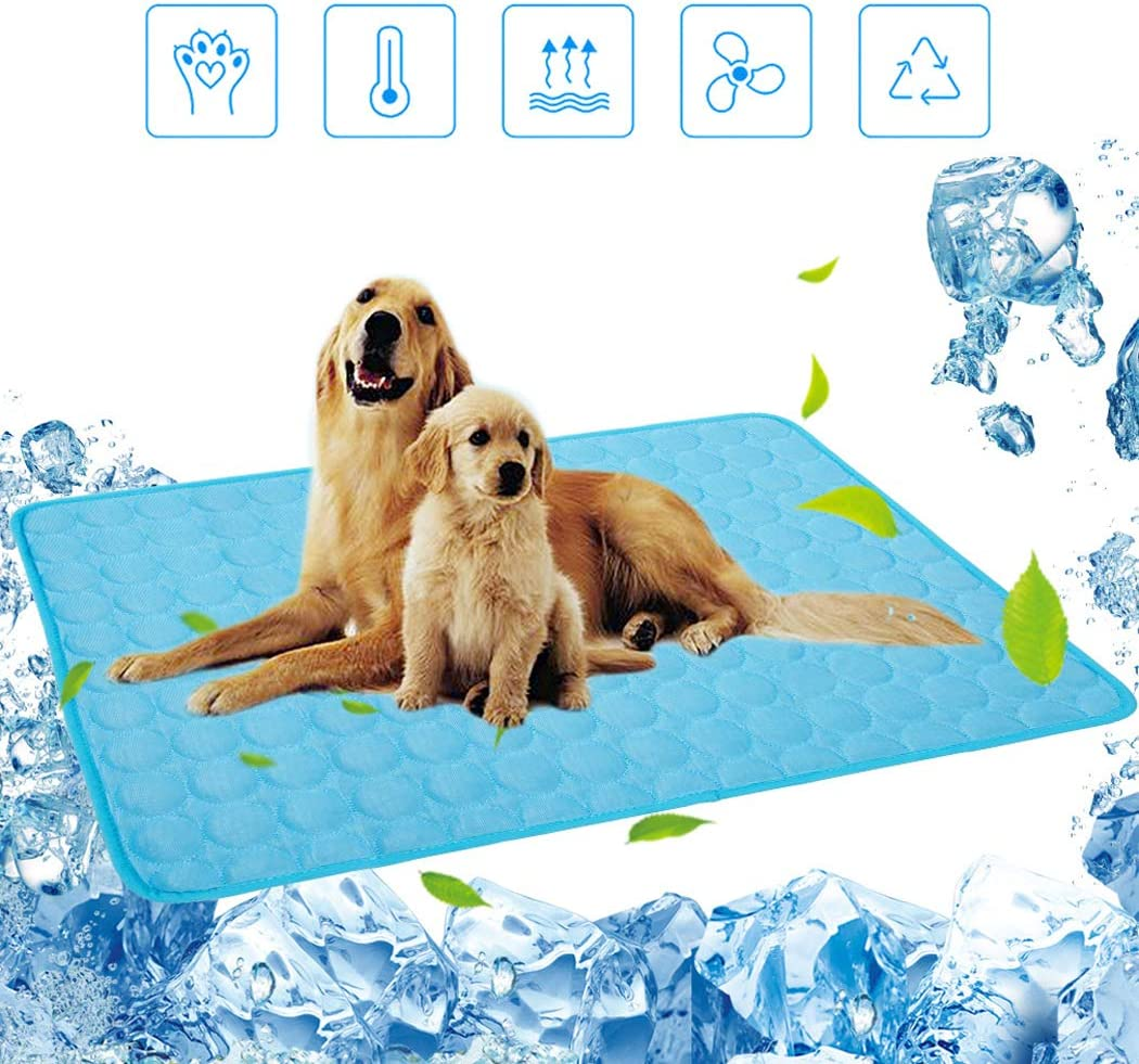 BiBOSS Pet Cooling Mat for Dogs Cats Premium Comfort Cooling Pad Non-Toxic Ice Silk Mat Cooling Blanket Self-Cooling Mattress Pad, Perfect for Pet Beds/Kennels/Couches/Floors/Car Seats