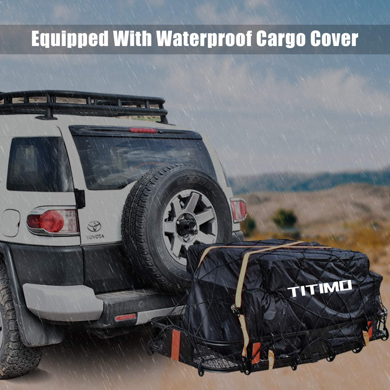 Truck Luggage Basket Rack Fits 2 Receiver Car Includes Cargo Net, Ratchet Straps, Waterproof Cover - 550LB Capacity TITIMO 60x21x6 Folding Hitch Mount Cargo Carrier Rear Cargo Rack for SUV