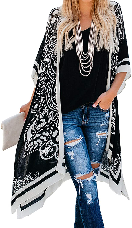 Sheer bluewhite elephant tribal print handmade kimono cardigantasselfringe cover upgauzy Indian print kimonogypsy festival topone size
