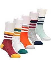Epeius Kids Boys' Stripes Pattern Cotton Crew Socks 5 Pair Pack