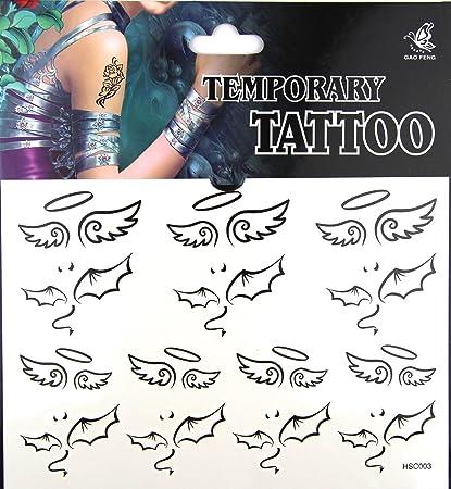 Pack de 5 ángel DIABLO alas tatuajes Flash Temporal Falso Tatuaje ...