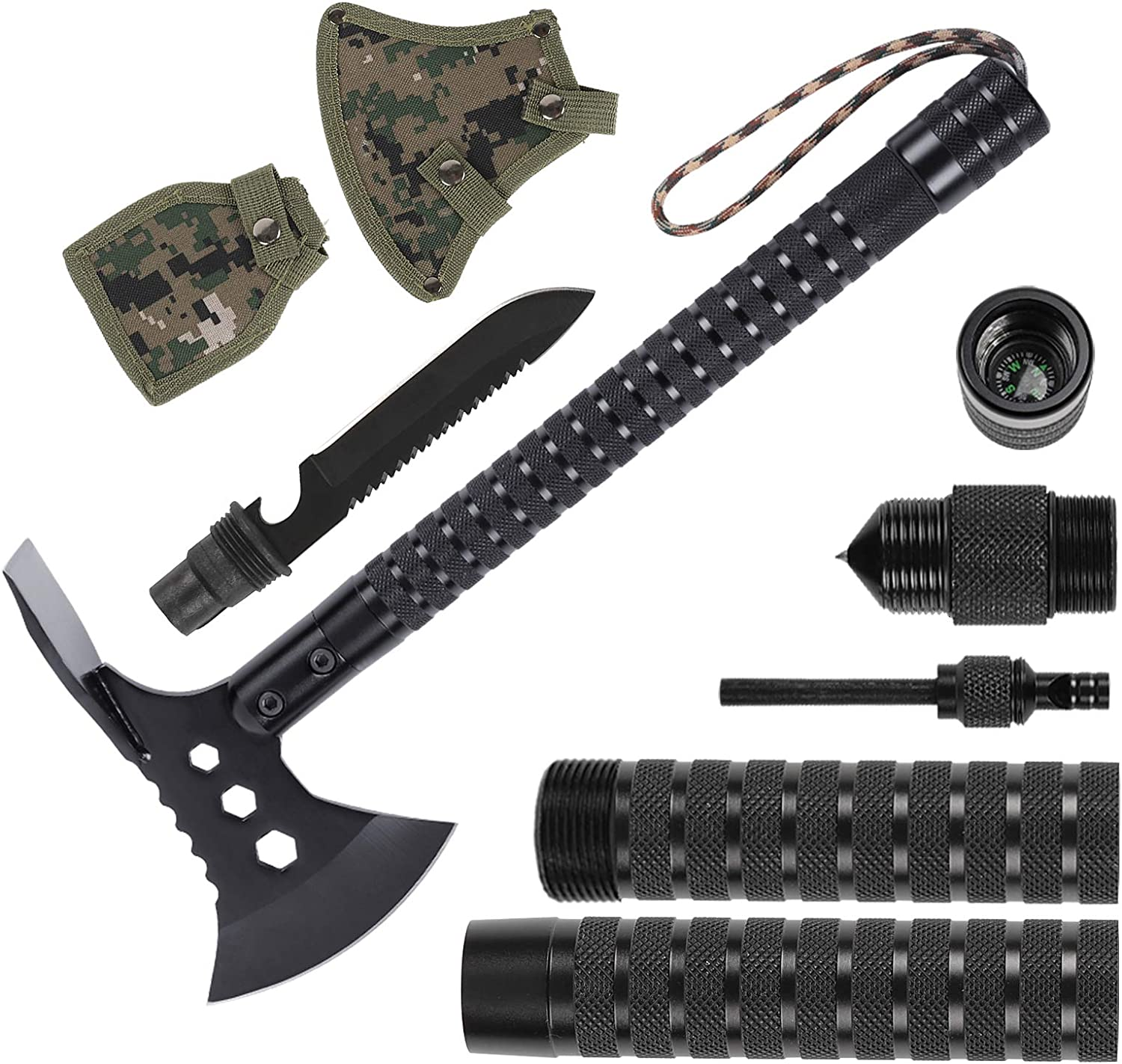 Amazon Com Liantral Portable Stainless Survival Axe Backpacking Folding Camping Axe Multitool Hatchet Shovel With Sheath Survival Gear Kit For Hunting Hiking And Emergency Sports Outdoors
