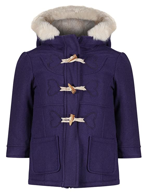 EX M&S Girls Duffel Coat Wool Mix Toggles Hooded Jacket Cream Fur Age 1-7 Years RRP £28