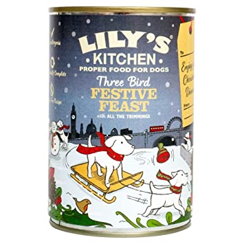 Christmas Dinner In A Tin.Lily S Kitchen Three Bird Feast Christmas Dinner For Dogs 400g Each Tin Pack Of 3