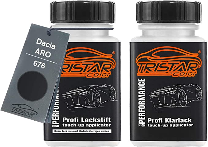 Tristarcolor Autolack Lackstift Set Für Dacia Aro 676 Noir Metallic Perlmutt Schwarz Metallic Basislack Klarlack Je 50ml Auto