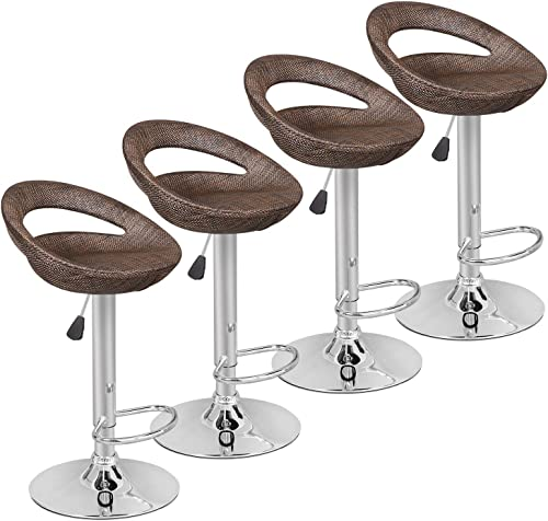 Pub Swivel Barstool Patio Barstool Adjustable Height Pub Chairs Hydraulic Indoor/Outdoor Barstools Modern Sleek Style