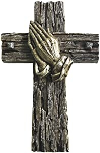 Polly House 10 inches Bronze Color Praying Hands on Wood Like Cross