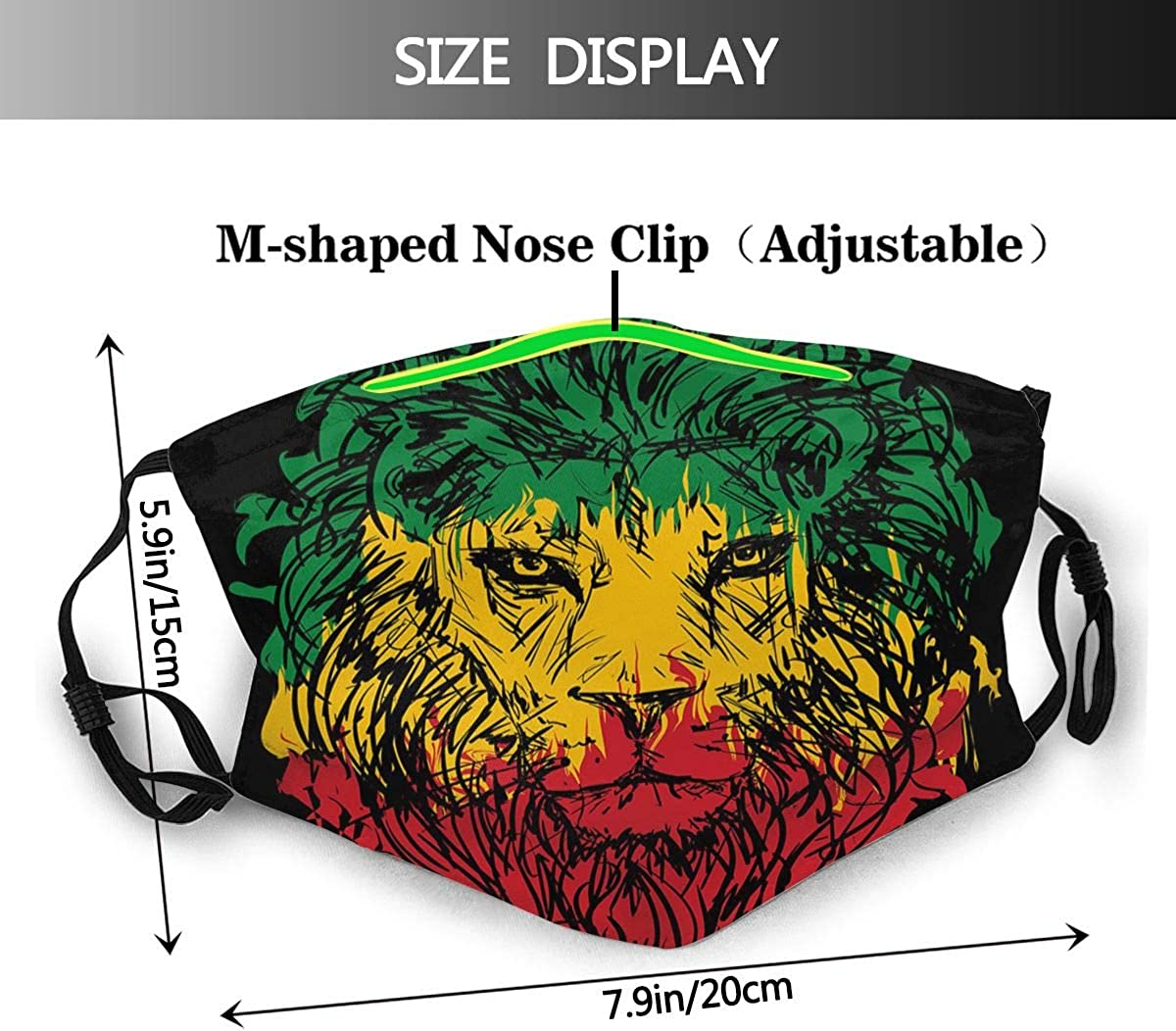 COFEIYISI Face Cover /Äthiopische Flagge Farben auf Grunge skizzenhaften L/öwenkopf mit schwarzem Hintergrund Sturmhaube Wiederverwendbare Anti-Staub-Mund-Bandanas mit 2 Filtern
