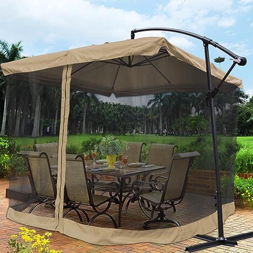 Amazon.com : Yescom 9u0027 Tan Outdoor Patio Offset Umbrella W/ Aluminum Tilt  200g PA Cover Shade U0026 Mosquito Net Mesh : Garden U0026 Outdoor