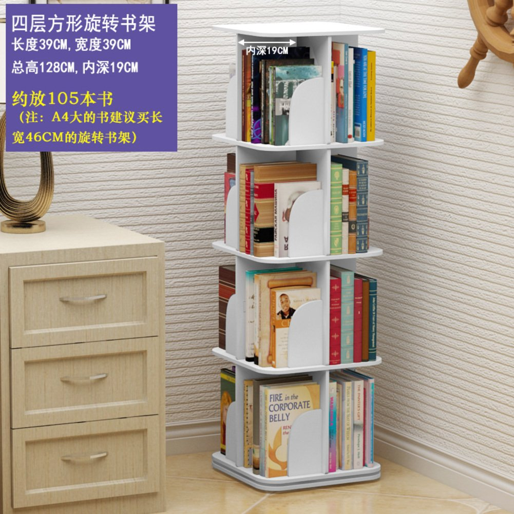 JX BOOS BookshelfCreative Swivel Bookcase 360bookrack Modern Simple Shelf Childrens Corner Table