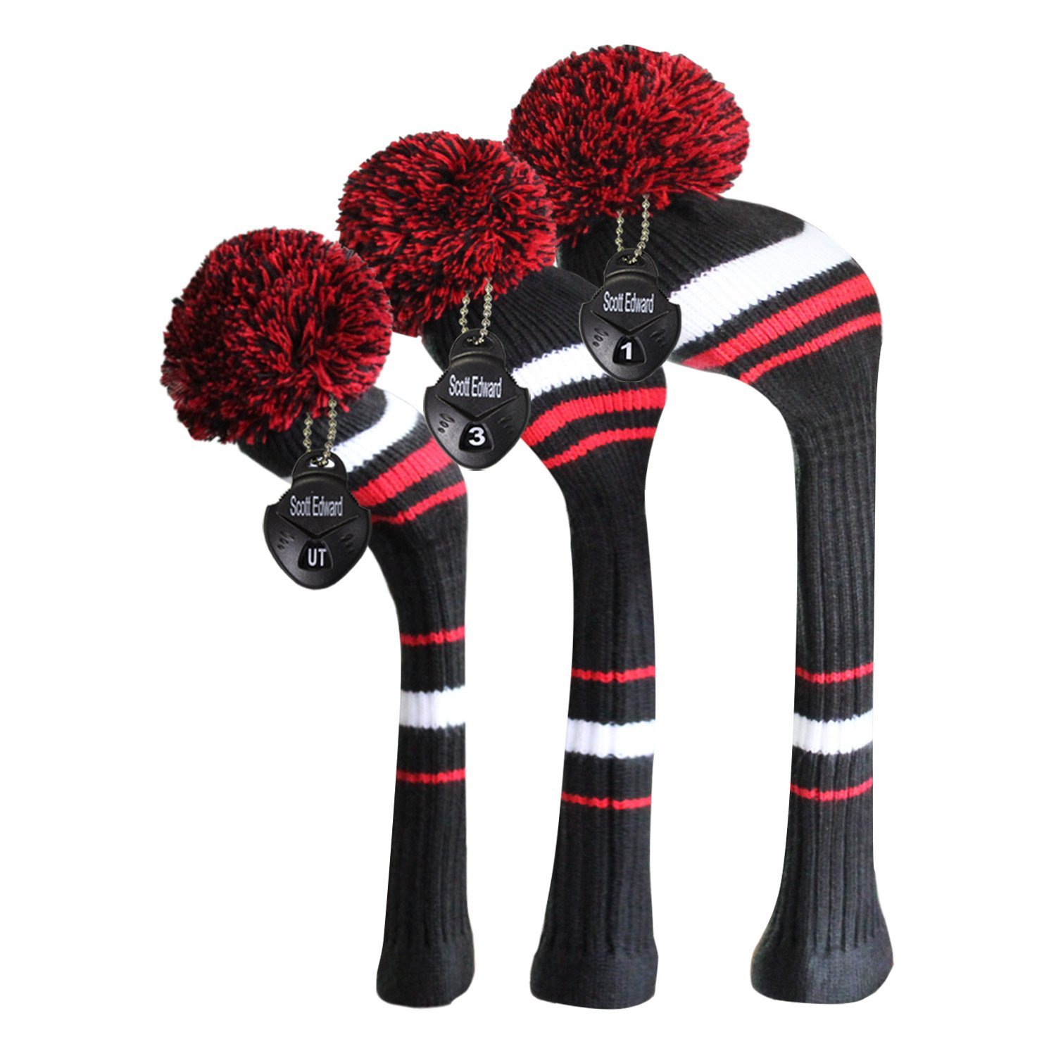 Scott Edward Knitted Golf Head Covers Set Black White Red Stripes Style 3 PCS/Set for Driver(460cc), Fairway Wood and Hybrid with Rotating Number Tags, Soft Acrylic Yarn Double-Layers Knitted