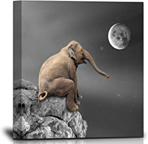 Elephant Canvas Wall Art for Living Room Wall Decor 12×12inch with Frame Baby Elephant Sitting on Big Rock in Front of Moon and Stars Wall Painting Aesthetic Black White Animal Home Decoration Artwork Cute Picture